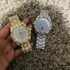 Midnight Sale!! 2 iced out full busted dial watch
